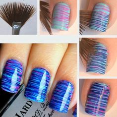 using a fan brush for nail designs looks awesome. i will have to try this