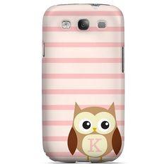 Brown Owl Monogram K on Pink Stripes - Geeks Designer Line Owl Series Hard Case for Samsung Galaxy S3