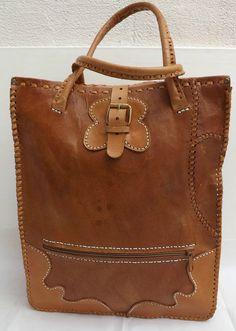 Fabulous Vintage  Tan Leather 1960 s Oversize Handbag /Tote Bag Great Condition
