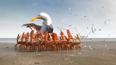 If ants, penguins and fireflies can prove it's smarter to travel in groups, crabs can do that too! This commercial was the last one in a sequel for public bus company De Lijn.