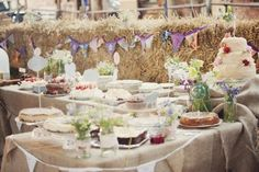 dessert table wedding white tablecloth - Google Search