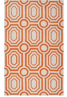 orange geometric area rug