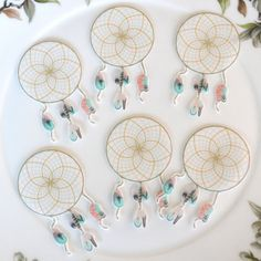 Edible Dreamcatcher Feathers x20 Boho Sweet Dream Catchers Wafer Paper Wedding Cake Decorations Rustic Birthday Party Cupcake Toppers Cookie