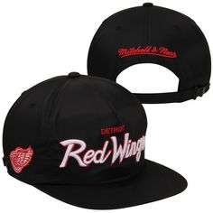 e9784ae0ad0 Mitchell   Ness Detroit Red Wings Special Script Zipback Adjustable Hat -  Black