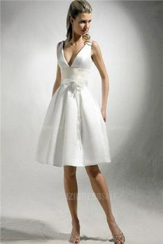 A-Line/Princess V-neck Straps Knee-length Satin Wedding Dress