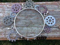 Steam punk keys and gears bangle bracelet - steam punk jewelry - birthday - christmas - holiday - gifts for her - christmas gifts for her on Wanelo