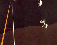 """Cão ladrando para a lua (1926)  Joan Miró - Museu de Arte da Filadélfia  Criada logo após Miró incluir palavras em sua arte, o tema desta pintura se originou em um esboço pelo artista que descreve um conto popular catalão.   O esboço (completo com os balões da palavra dos desenhos) mostra um cão que grita """"au au"""" para a lua, enquanto a lua olha para baixo sem piedade, dizendo, """"eu não dou a mínima."""""""