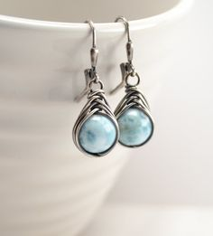 Larimar Earrings, Natural Larimar, Larimar Jewelry, Sterling Silver Earrings, Wire Wrapped Earrings, Herringbone Wrap, Blue Earrings