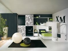 Dormitorios: Fotos de dormitorios Imágenes de habitaciones y recámaras, Diseño y Decoración: DORMITORIO JUVENIL TIPO LOFT EN VERDE PISTACHO MAN...