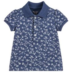 Baby Girls Cotton Polo Shirt for Girl by Ralph Lauren. Discover more beautiful designer Tops for kids online Blue Polo Shirts, Shirts For Girls, Men Casual, Ralph Lauren, Puffed Sleeves, Baby Girls, Pony, Cuffs, Mens Tops