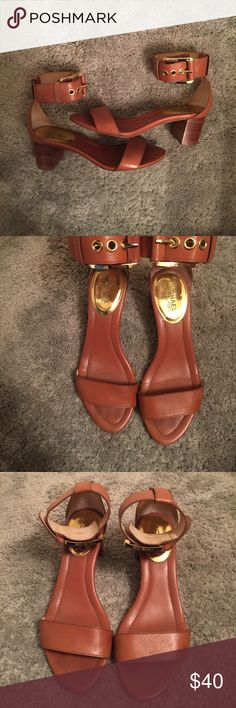 Michael Kors Ankle Buckle Strap Heels Cognac leather Michael Kors Heels with buckle at ankle and gold detailing. Very comfortable. No visible scuffs, some wear on bottom of soles. Michael Kors Shoes Heels