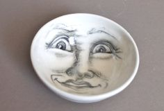 Crazy white moon bowl faces of the moon by tjCervantesArt on Etsy, $38.00