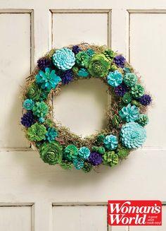 Faux Succulent - pinecone wreath