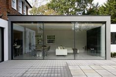 exterior view of minimal windows to rear extension in London ...