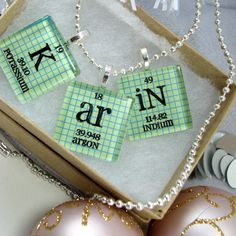 Chemistry Necklace Periodic Table Glass Necklace - via Etsy.