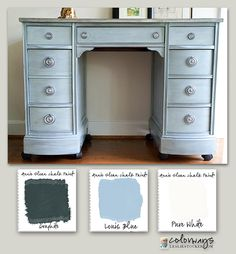 Colorways with Leslie Stocker » Kneehole Desk Annie Sloan Chalk Paint®. Louis Blue. Pure White. Graphite. Rub & Buff Silver.
