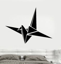 Wall Vinyl Decal Origami Crane Modern Contemporary by BoldArtsy