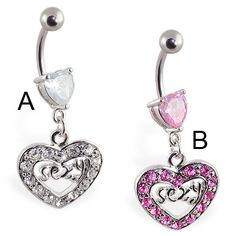 Navel ring with dangling jeweled \SEXY\ heart Heart Piercing, Navel Piercing, Belly Rings, Belly Button Rings, Peircings, Close To My Heart, Pretty Cool, Tatting, Dangles