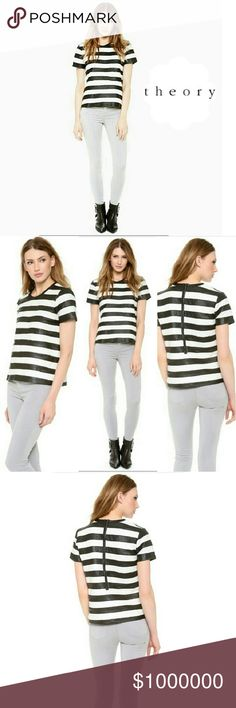 """THEORY - 100% LEATHER MAGAZINE BLACK & WHITE TOP THEORY NICAID MAGAZINE STRIPE LEATHER TOP Pre-Loved /EUC *.   Soft, Soft, Soft 100% Lambskin Leather *.  Lining 97% Polyester 3% Spandex Excellent Condition! Approx Measures; Length.  Back to Bottom 22"""" Zipper Length15"""" Arm pit to Arm Pit 17 1/2"""" Sleeve Length 7"""" Bottom Width 19 1/2""""  * RETAIL.   $645.00 Theory Tops Tees - Short Sleeve"""