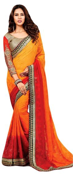 Maroon & Orange Shaded Georgette Brasso Designer Saree. Crafted with heavy lase patch border. Blouse material Art Silk. Blouse sleeve material Chiffon decorated with resham embroidery design.