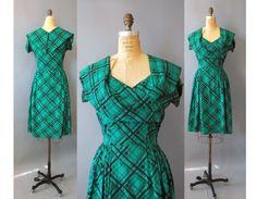 1950s Silk Dress / Highland Bound Dress / by wildfellhallvintage