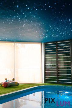 LED Sternenhimmel eignen sich hervorragend als Ambientebeleuchtung in gewerblichen und privaten Räumen, die der Fitness, der Entspannung und dem Wellnessvergnügen dienen. PIXLUM verleiht diesen Räumen eine besondere Ausstrahlung und macht aus ihnen Wohlfühlbereiche. Blinds, Curtains, Led, Fitness, Home Decor, Environment, House Blinds, Gymnastics, Homemade Home Decor