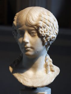 Roman marble portrait; the so-called Minatia Polla now in the National Museum (Terme), Rome.  Dated to ca. A.D. 40, thus of the Julio-Claudian period. Height ca. 35 cm.  Museum inventory 1043.
