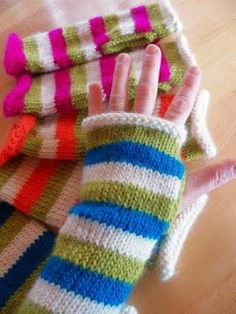 Live In Art: Striped Hand Warmers