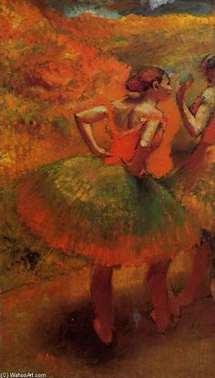 Two Dancers in Green Skirts, Landscape Scenery  Edgar Degas  Media Oil  Style Impressionism  Subject Dance