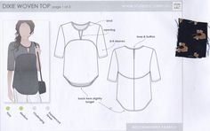 Style Arc Sewing Paper Pattern Dixie Woven Top Size 18 SW9 Uncut Factory Folded #StyleArc #Top