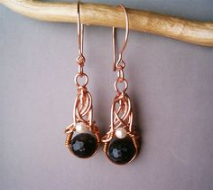 Wire Wrapped Earrings Copper and Black FireCrackle by GearsFactory, €19.00