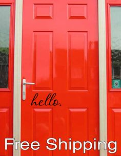 hello. vinyl wall decal sticker front door by KleinsKreations