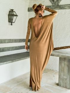 Camel Taupe Dress Kaftan with Nude See-Through Detail /   Etsy Taupe Maxi Dress, Backless Maxi Dresses, Maxi Robes, Gray Maxi, Open Back Maxi Dress, Open Back Dresses, Dress Plus Size, Plus Size Maxi Dresses, Couture