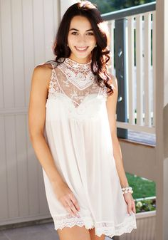 White Lace Chiffon Mini - Unlined Fabric Dress
