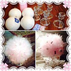 Foam ball, Tulle, Hot Glue, candle holder from Dollar Tree! Fun and easy to make! Gender Reveal Gifts, Dollar Tree, Cheerleading, Babyshower, Shower Ideas, Sydney, Jazz, Centerpieces, Candle Holders