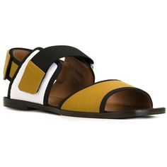 Marni colour block flat sandals (€340) ❤ liked on Polyvore featuring shoes, sandals, yellow shoes, leather flats, block-heel sandals, yellow flat sandals and leather slingback sandals