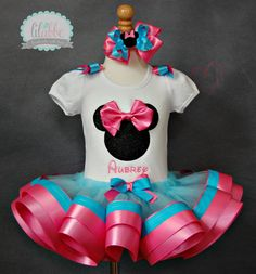 Minnie Mouse Inspired Tutu Set In Sparkle Black by lilabbehandmade, $68.99
