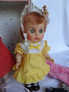 """Vintage 50's R & B Littlest Angel Block 10 1/2 """" HP Walkers in Trunk Clothes +"""