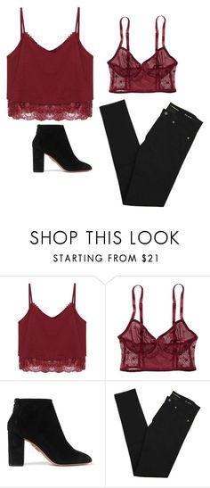 """Red velvet cake"" by camillebealee ❤ liked on Polyvore featuring American Eagle Outfitters, Aquazzura, Yves Saint Laurent and vintage"