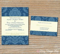 Wedding Invitation  Damask in Blue and Pale by DaisyDesignShop, $2.25