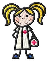 Grand Slam Designs Embroidery Design: Girl Nurse 2.62 inches H x 2.03 inches W