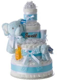 Diaper Cakes For Boys | Boy Diaper Cakes | Baby Boy Diaper Cakes Elephant Diaper Cakes, Diaper Cake Boy, Lil Baby, New Baby Boys, Baby Necessities, Cakes For Boys, Boy Blue, Unique Baby, Tiered Cakes