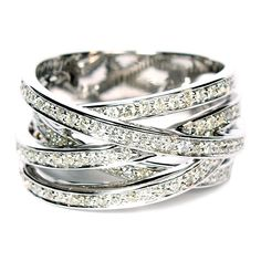 14K White Gold Free-Form Pavé Diamond Ring