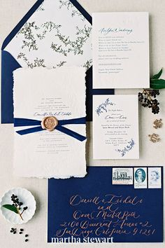 Couples tying the knot between September 23 and December 21, this suite is for you. Greenery garland illustrations ensured the Shasta Bell suite still felt seasonal with this navy colorway. Berry and leaf artwork can add a touch of nature to the suite in a seasonally-appropriate way. #weddingideas #wedding #marthstewartwedding #weddingplanning #weddingchecklist Fall Wedding Invitations, Wedding Stationery, Autumn Inspiration, Wedding Inspiration, Flourish Calligraphy, Greenery Garland, Sweet 16 Parties, Bohemian Bride, Papers Co