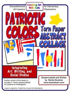 Patriotic Colors Torn Paper Abstract Collage - a social studies integrated art lesson inspired by Bill Martin, Jr.