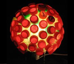 lampara de tapas de botellas