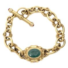 Italian Handmade Gold Bracelet with Toggle and Ring Closing   From a unique collection of vintage chain bracelets at https://www.1stdibs.com/jewelry/bracelets/chain-bracelets/