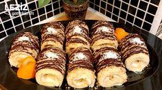 Porsiyonluk Rulo Pasta (Cevizli Ve Çikolata Soslu)