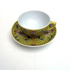 Asian Teacup And Saucer Tea Sunny Yellow Chinese