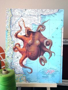 Color Octopus Print on Vintage Atlas Page